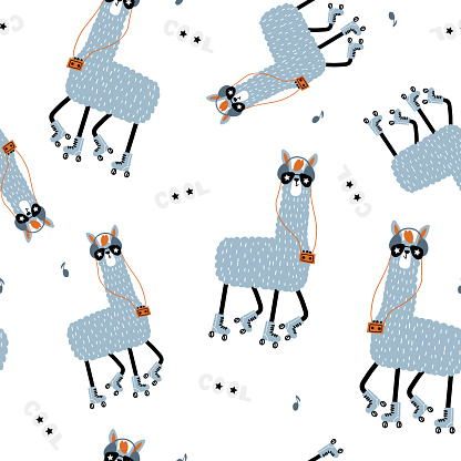 Seamless childish pattern with funny llamas on roller skates . Creative scandinavian kids texture for fabric, wrapping, textile, wallpaper, apparel. Vector illustration