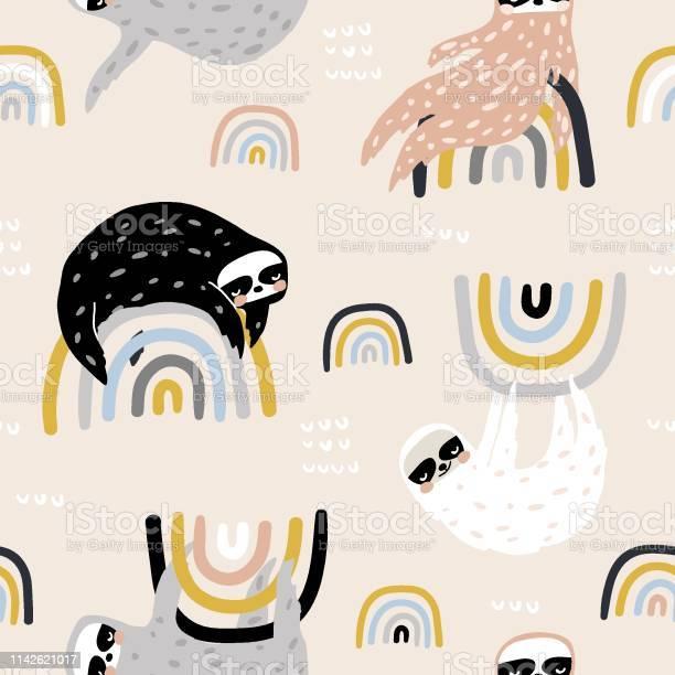Seamless childish pattern with funny sloths on rainbows creative kids vector id1142621017?b=1&k=6&m=1142621017&s=612x612&h=fokup9etapmfglag1b1hu2m5ddqqrkp3jhezpknnyao=