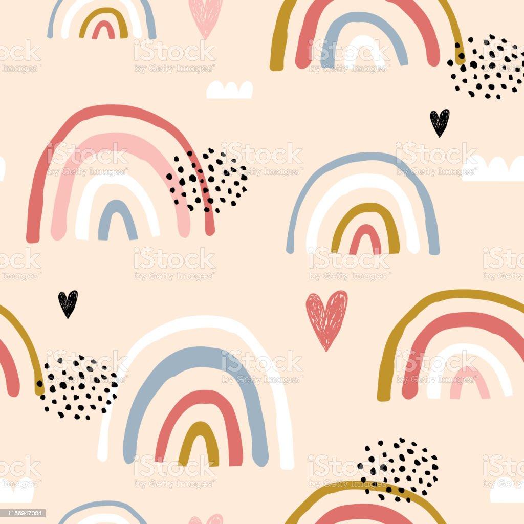 Sömlös barnsligt mönster med hand dras regn bågar och hjärtan,. Kreativ skandinavisk barn textur för tyg, omslag, textil, tapeter, kläder. Vektor illustration - Royaltyfri Bildbakgrund vektorgrafik