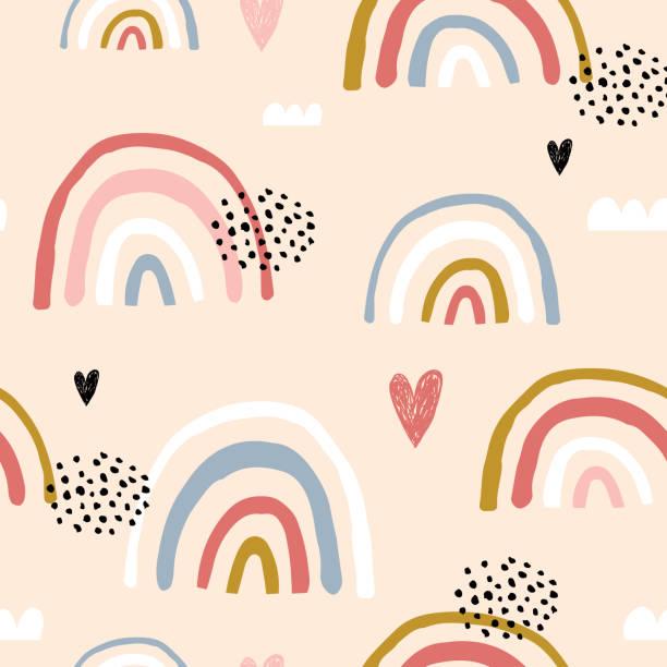 ilustrações, clipart, desenhos animados e ícones de teste padrão criançola sem emenda com os arcos-íris e os corações desenhados mão. textura escandinava criativa dos miúdos para a tela, envolvendo, matéria têxtil, papel de parede, fato. ilustração do vetor - arco íris