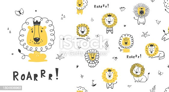 Seamless childish pattern with little lion.