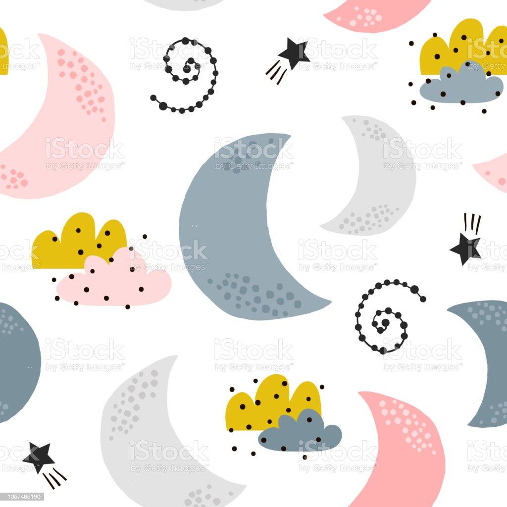 Ilustracion De Sin Fisuras Patron Infantil Con Lunas Nubes