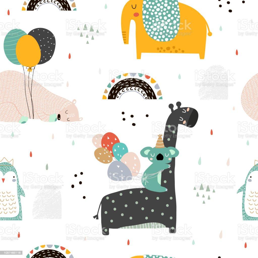 Ilustracion De Sin Fisuras Patron Infantil Con Animales De Partido