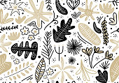 Seamless childish pattern with pink vintage flowers, leaf, branch and grass. Creative jungle childish texture. Template for design textile, backgrounds, packages, wrapping paper. Vector illustration