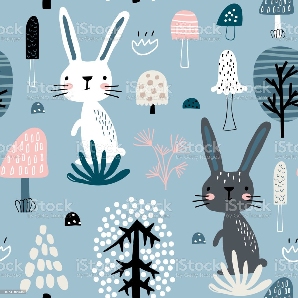 Ilustracion De Sin Fisuras Patron Infantil Con Conejos En El