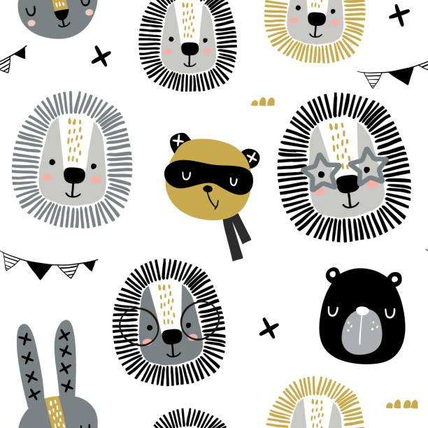 ilustrações de stock, clip art, desenhos animados e ícones de seamless childish pattern with stylish monochrome animals . creative scandinavian kids texture for fabric, wrapping, textile, wallpaper, apparel. vector illustration - super baby
