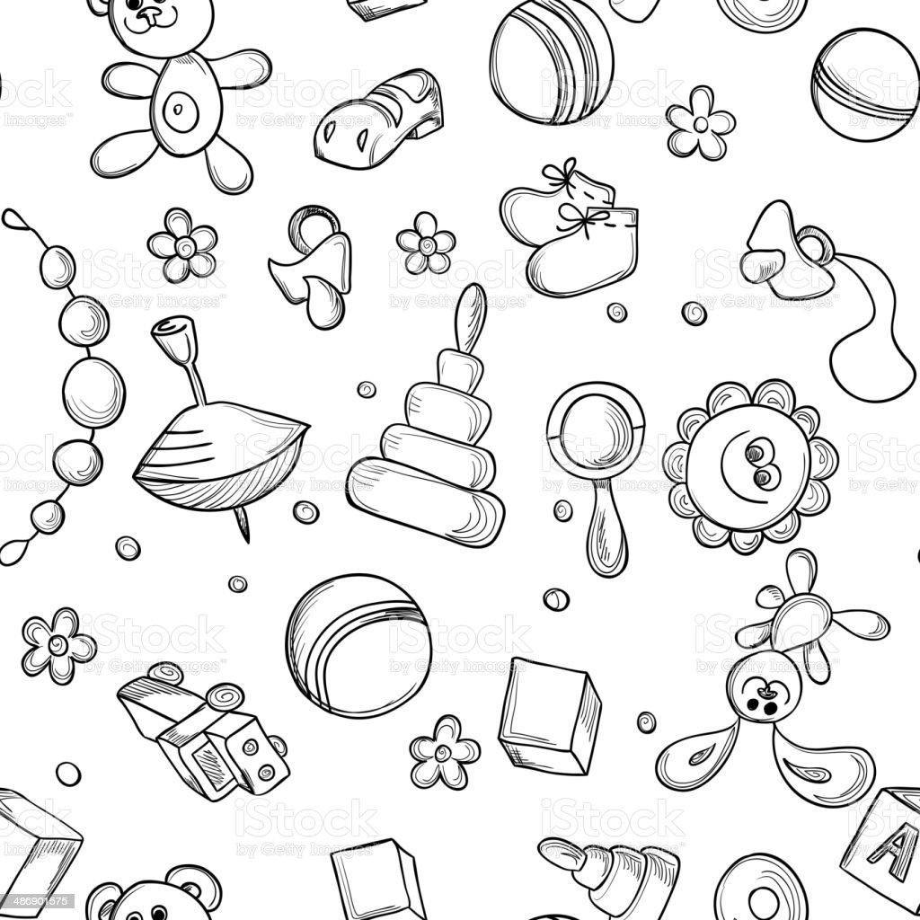 Seamless children background vector art illustration