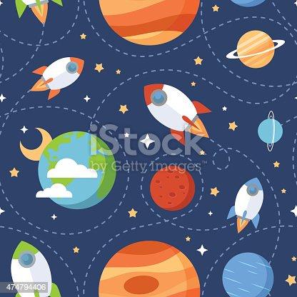 istock Seamless children cartoon space pattern 474794406
