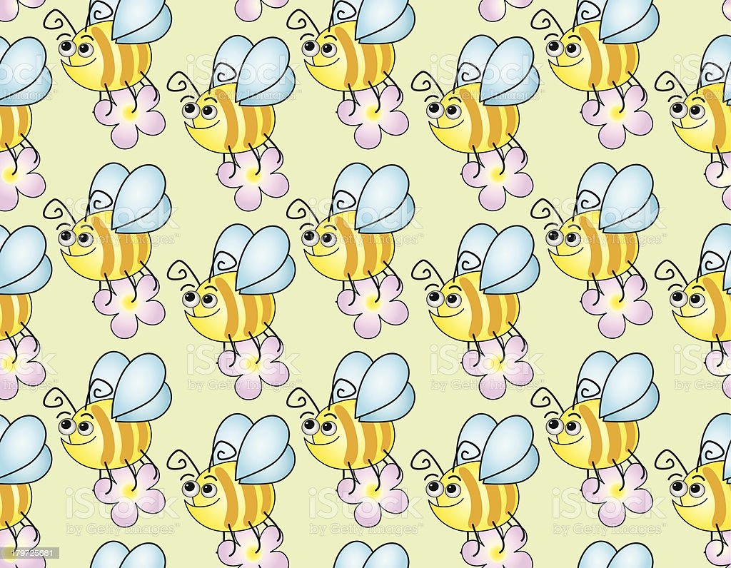 Seamless children's background with funny bees royalty-free stock vector art