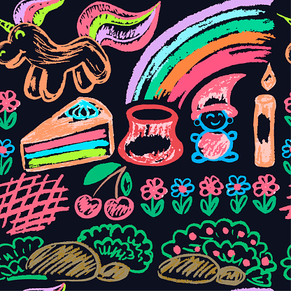 Seamless children's drawing. Colored wax crayons