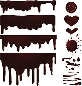 Vector illustration of seamless chocolate drips and elements