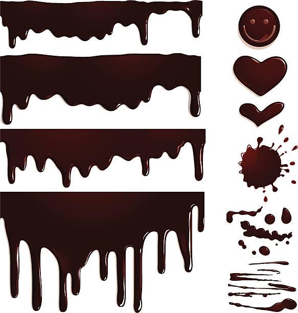 nahtlose chocolate drips und elementen - schokolade stock-grafiken, -clipart, -cartoons und -symbole
