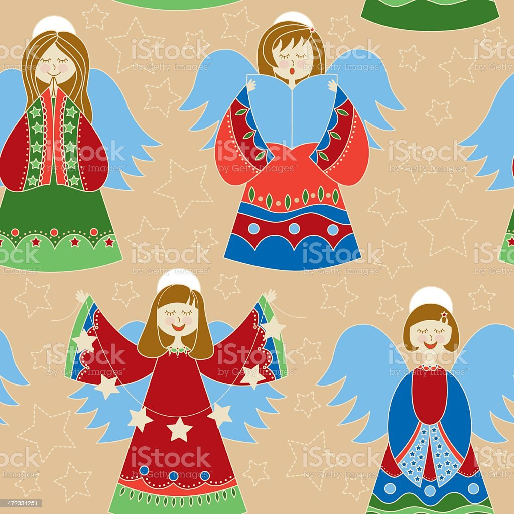Seamless Christmas angels royalty-free seamless christmas angels stock vector art & more images of angel