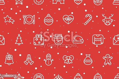 istock Seamless Christmas Background. Icons on Red Background. Christmas, Snowflakes, Winter, New Year's Eve Template Concept. Vector Illustration. 1288800410