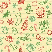 Simple christmas icons sketched on lined paper. Will tile endlessly.