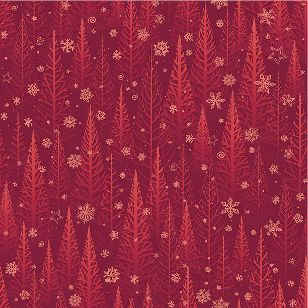 Seamless Christmas background Seamless Christmas wallpaper with red stylised Christmas trees and snowflakes. Will tile endlessly.  EPS 10 file using transparencies. christmas fun stock illustrations