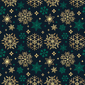 istock Seamless Christmas background with different snowflakes on black 1286082933