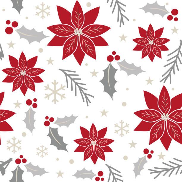 stockillustraties, clipart, cartoons en iconen met naadloze kerst achtergrond met poinsettia rood en zilverkleur ontwerp - kerstster