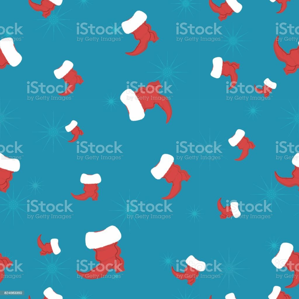Nahtlose Weihnachten Hintergrund Mit Santa Claus Schuhe Vektor ...