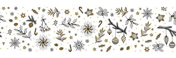 Seamless Christmas banner vector art illustration