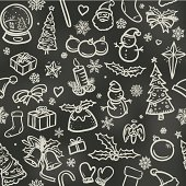 Christmas icons sketched in white chalk on a blackboard. Will tile endlessly