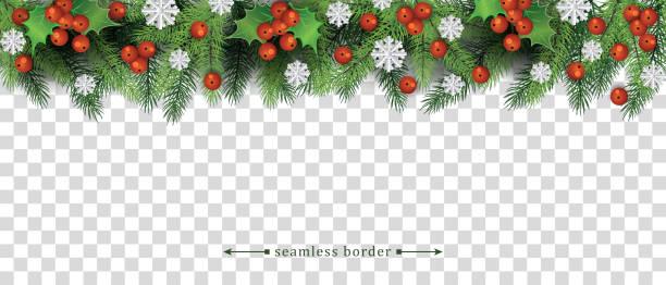 illustrations, cliparts, dessins animés et icônes de bordure de noel sans couture avec l'arbre vert et les branches de houx et les flocons de neige. - guirlande