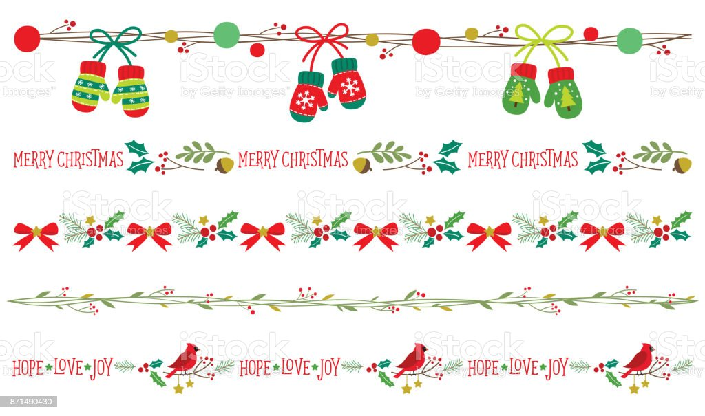 Seamless Christmas Borders Vector vector art illustration