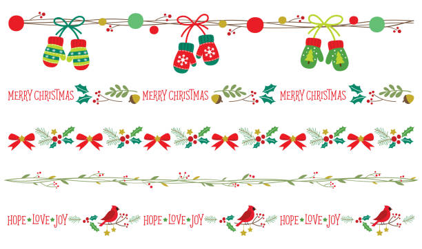 Seamless Christmas Borders Vector Seamless Christmas decorative borders vector illustration set. mitten stock illustrations