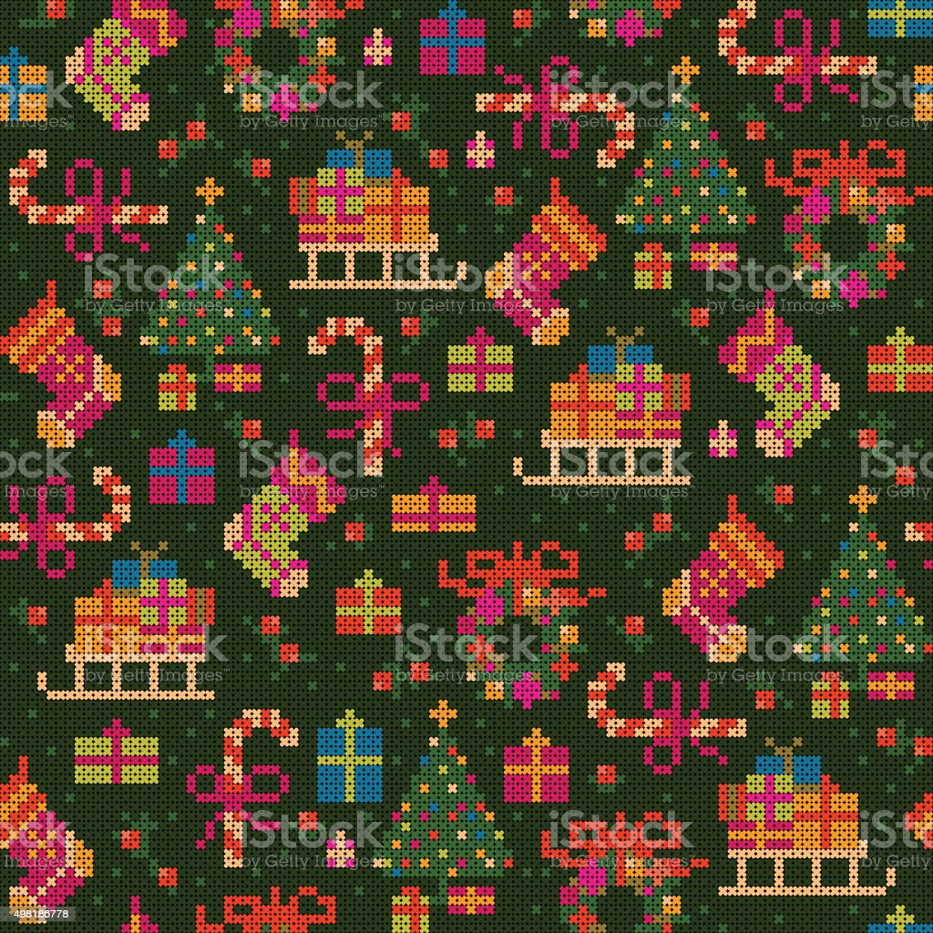 seamless christmas cross stitch pattern vector art illustration