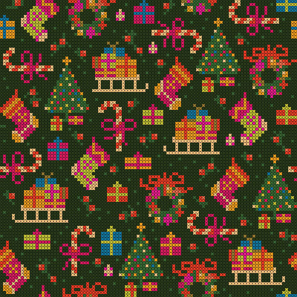 seamless christmas cross stitch pattern vector art illustration