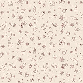 Simple seamless Christmas themed drawings. Hand drawn doodle decorations, snowflakes, presents and other doodles forming a seamless pattern. EPS10 vector illustration, global colors, easy to modify.