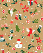 Seamless christmas wrapping paper, christmas graphic elements including christmas present, handbell, snowman, bell, reindeer, poinsettia, pine cone, christmas stocking, bird, christmas tree, star and snowflake.