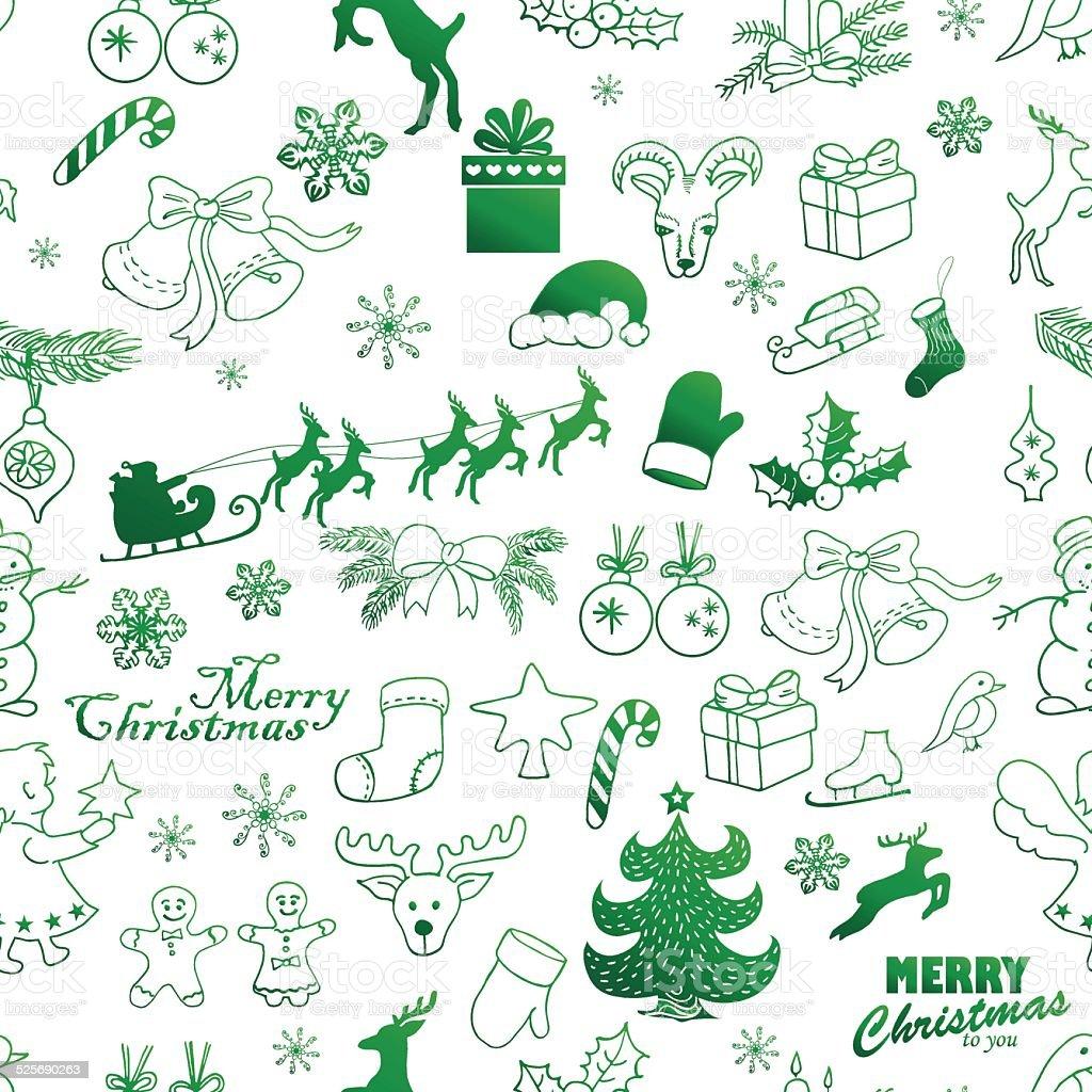 Ilustración de Patrón Sin Costuras De Navidad Verde Sobre Un Fondo ...