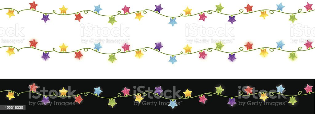 Seamless christmas lights stars royalty-free seamless christmas lights stars stock vector art & more images of black color