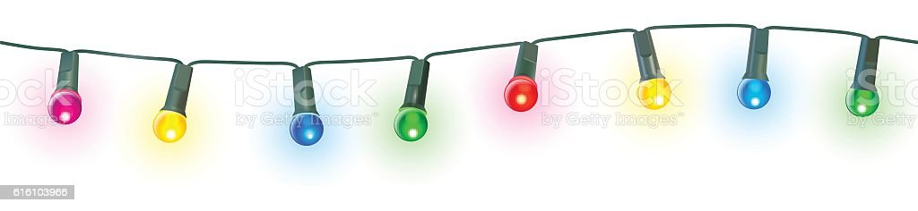 seamless christmas lights vector art illustration