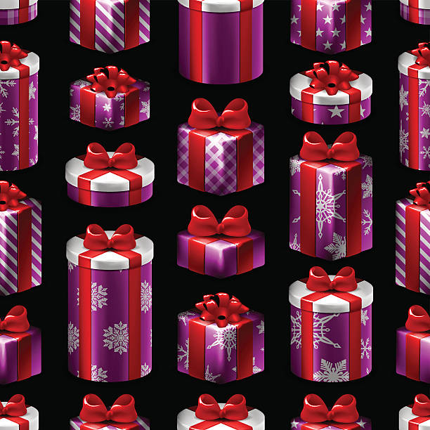 Seamless Christmas Pattern - Gifts vector art illustration