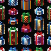 A seamless pattern made of vectored christmas gift boxes. EPS 10 file, layered & grouped, with meshes and transparencies.