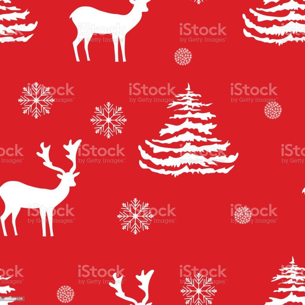 Nahtlose Weihnachten Muster Handgezeichnete Realistische Rentiere ...