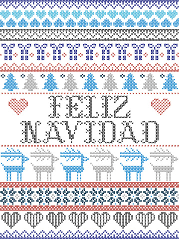 Seamless Christmas pattern Merry Christmas in Spanish: Feliz Navidad Scandinavian style, inspired by Norwegian Christmas, festive winter pattern in cross stitch with reindeer, Christmas tree, heart, snowflakes, snow, gift