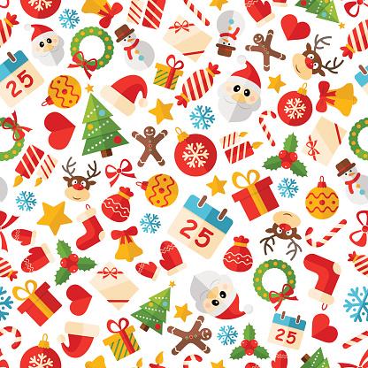 Seamless Christmas Pattern Texture - Illustration