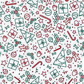 Seamless Christmas pattern in recognizable festive colors