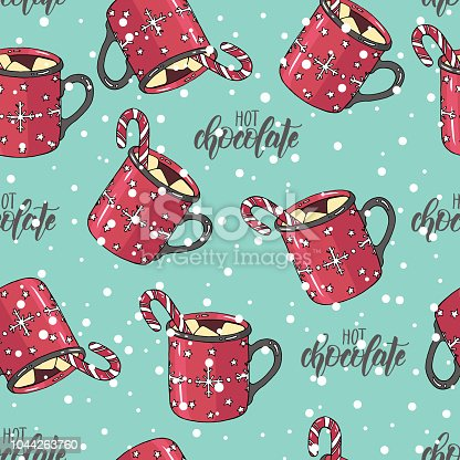 Seamless Christmas Pattern With Hand Drawn Colored Cup Of