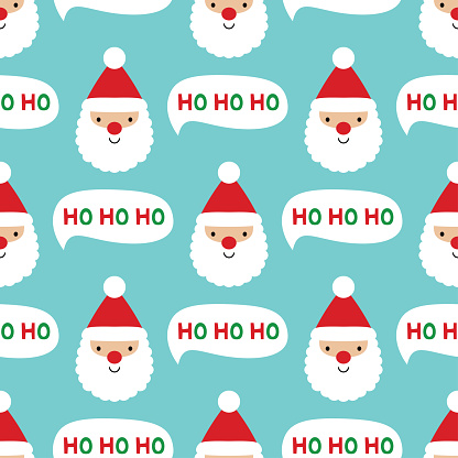 Seamless Christmas pattern with Santa Claus face