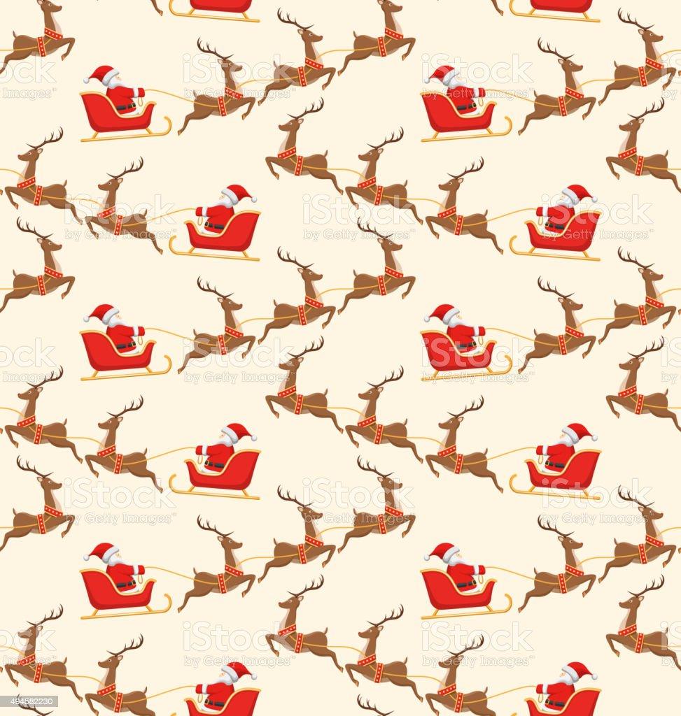 Patrón Sin Costuras De Navidad Con Santa Con Trineo Y Renos Su ...