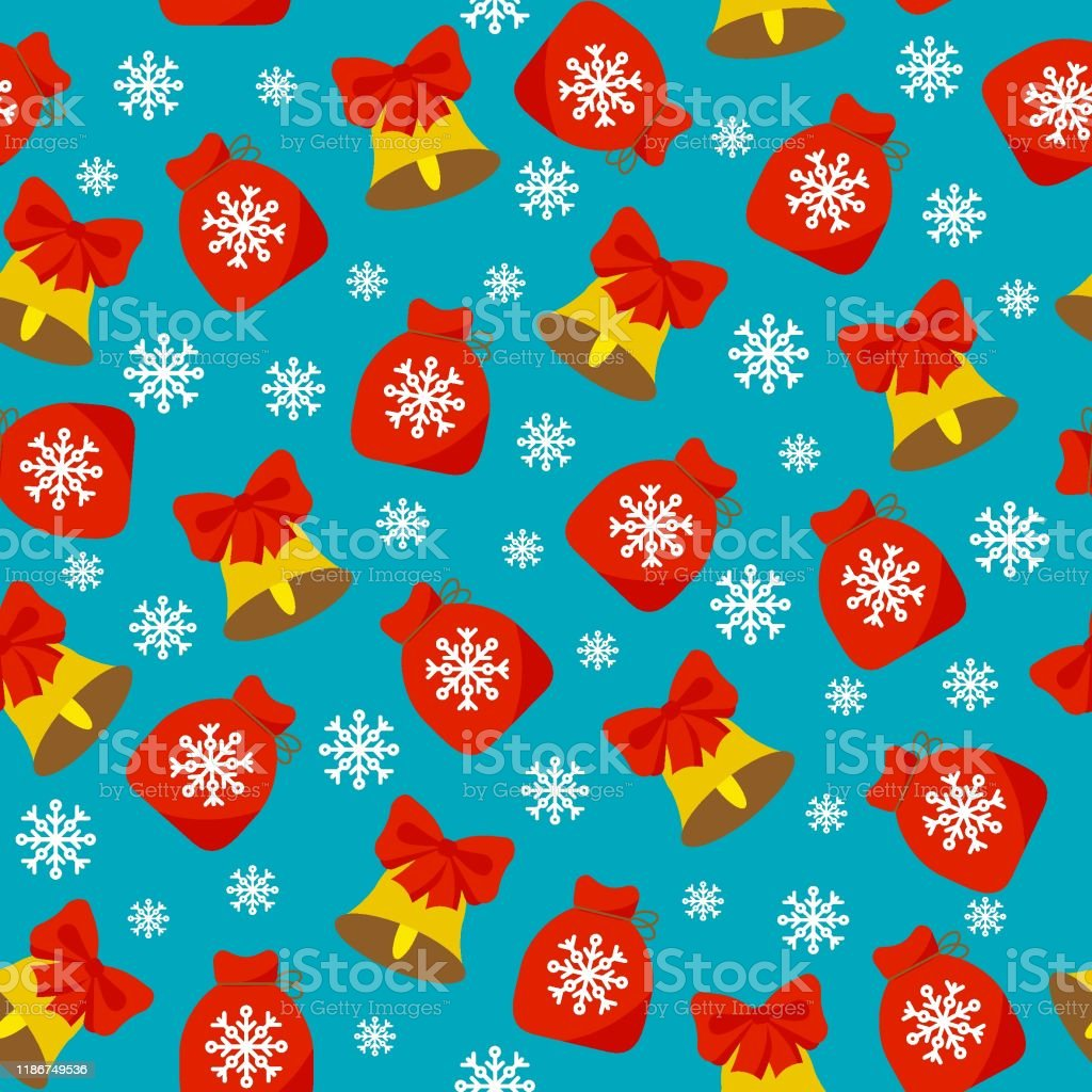 Vetores De Padrao De Natal Sem Costura Sinos De Natal Flocos De