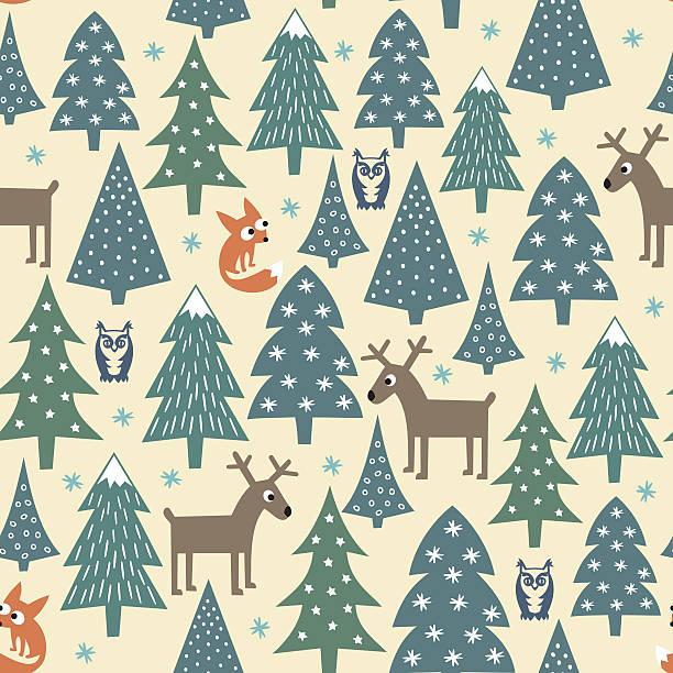 Navidad patrón sin costuras de bolas de navidad -, casas, foxes, se llegan, deers - ilustración de arte vectorial