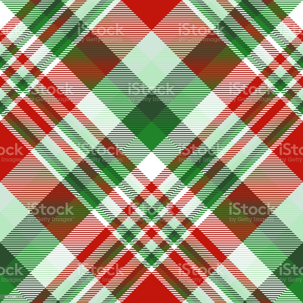 Seamless Christmas plaid pattern in red, green and white. vector art illustration