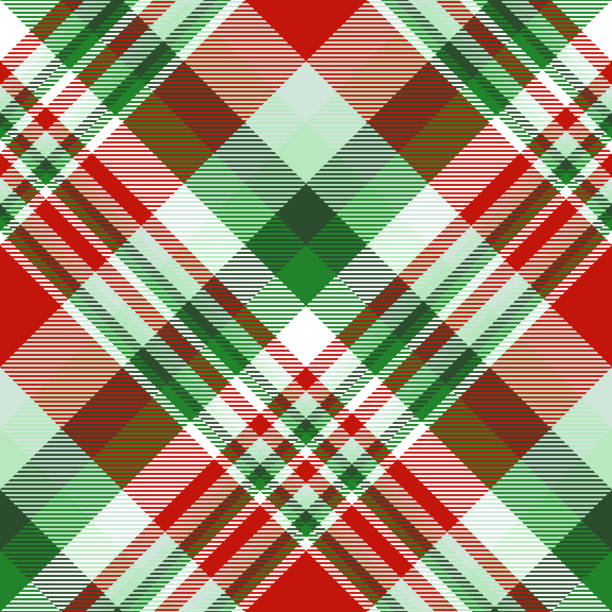 seamless christmas plaid pattern in red, green and white. - preppy fashion stock illustrations, clip art, cartoons, & icons