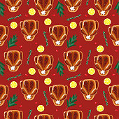 Seamless Christmas roasted chicken, duck or goose illustration pattern, red background. Perfectly usable for all christmas related projects.