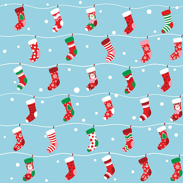 Seamless Christmas stocking background Seamless Christmas stocking wallpaper. christmas stocking stock illustrations